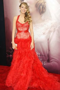 """Blake Lively wearing Marchesa red gown at the New York Premiere of """"The Age of Adaline"""" (April 2015). #blakelively"""