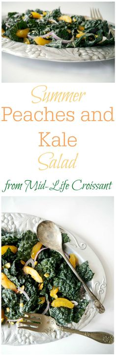 Are you swimming in peaches? Harness their juicy ripeness in this massaged kale salad from midlifecroissant.com.