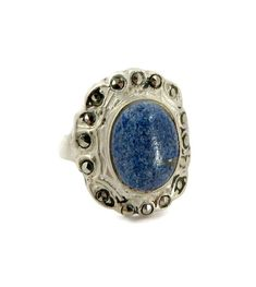 Vintage Faux Denim Blue Lapis Ring, Sterling Silver & Marcasite Ring, Size 4