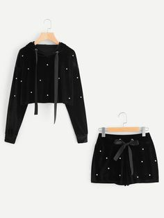 SheIn offers Pearl Beading Velvet Hoodie & Shorts Set & more to fit your fashionable needs. Cute Lazy Outfits, Teenage Outfits, Outfits For Teens, Stylish Outfits, Cool Outfits, Pajama Outfits, Crop Top Outfits, Girls Fashion Clothes, Teen Fashion Outfits