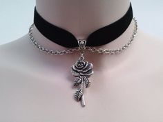 ROSE Charm With CHAIN Drapes BLACK Velvet Ribbon Choker - si... or choose…