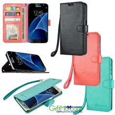 Beautiful Samsung Galaxy S7 / S7 Edge Leather Wallet Wristlet Case The Wallet series case for the Samsung Galaxy S7 features 3 credit card holders, and cash carry flap. Wallet also features a useful k