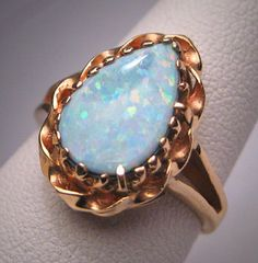 Antique Vintage Australian Opal Ring 14K Gold Wedding