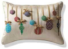 Ornament Decorative Pillow - Frontgate Christmas Decor traditional holiday decorations