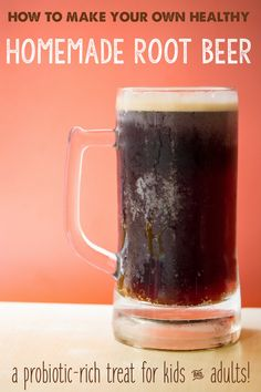 Homemade root beer is made with herbs, spices and healthy cultures for probiotic rich, health-boosting treat without the harmful ingredients of store bought soda. Kefir, Yummy Drinks, Healthy Drinks, Healthy Food, Refreshing Drinks, Healthy Recipes, Soda Recipe, Diet Cola Syrup Recipe, Root Beer Syrup Recipe
