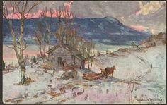 Kunstnerkort Gerhard Munthe. Tømmer. Utg Mittet Stemplet 1923.