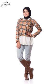 plaid sweater tall boots, Casual winter hijab looks http://www.justtrendygirls.com/casual-winter-hijab-looks/