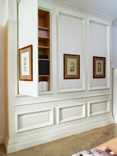 Does your home feature any hidden storage compartments – perhaps a linen closet, or even murphy bed? In many of these cases, these hidden home elements can be highlighted (and kept even more secret) with the addition of some strategically placed custom framed art! This hidden storage often acts as a fantastic backdrop for framed art. If you're working with a murphy bed, or other storage, where the door opens down, work with your local custom framer on an appropriate hanging solution.