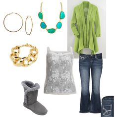 Plus Size Casual, Blue/Green and Gray