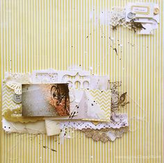 dream layout - love the use of the canvas and lace on this layout.