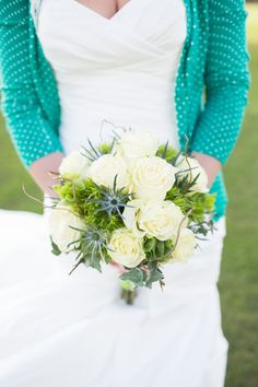 green, blue and white bouquet by Panache Style, photo by Thompson Photography Group