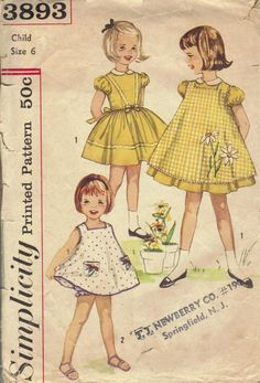 Simplicity 1960 Sewing Pattern Toddler Girls Party Dress Pinafore Panties One…