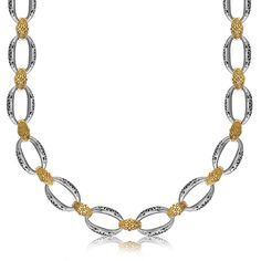18K Yellow Gold and Sterling Silver Chain Necklace in a Fancy Filigree Motif
