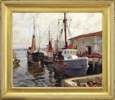 EMILE ALBERT GRUPPE (American, 1896-1978) FISHING BOATS AT DOCK, GLOUCESTER.