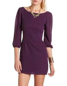 Zip-Back Chiffon Shift Dress: Charlotte Russe