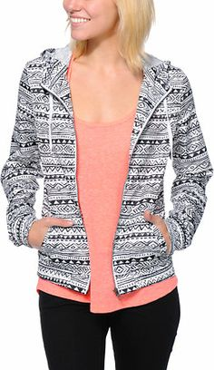 Perfect jacket for a nice spring day! Zine Tribal Print White Windbreaker Jacket at Zumiez : PDP