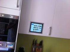diy iPad flush mounted in kitchen cabinet @ ikea hackers