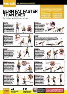 Spartacus Workout in Men's Health magazine (I can't do this workout all the time but I have been able to do it a few times so far. Definitely a challenge for upper body strength.)
