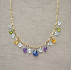 Artisan Necklace, Multi Semiprecious Gemstone Necklace, Sapphire Amethyst Citrine Peridot Aquamarine, Gold Fill, 16 Inch 18 Inch