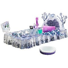 New Mattel Monster High Abbey Bominable Abby's Ice Bed Playset Fast Shipping Monster High Beds, New Monster High Dolls, Monster High Abbey, Dollhouse Accessories, Doll Accessories, Monster High Collection, Triste Disney, Creature Comforts, Toys R Us