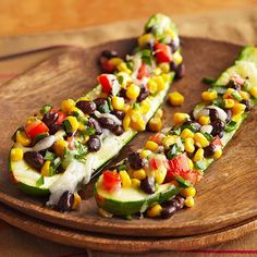 Stuffed Zucchini with Black Beans, Corn, and Poblano Pepper