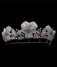 Chaumet - Fossin - An antique Pansy Flower Diadem, Paris, circa 1850. Composed of Gold, silver and diamonds. #Chaumet #Fossin #antique