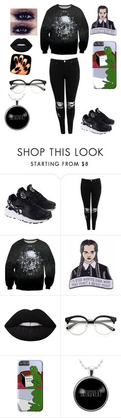"""""""Hello darkness my old friend..."""" by joannathebear ❤ liked on Polyvore featuring NIKE, Boohoo, Lime Crime and PèPè"""