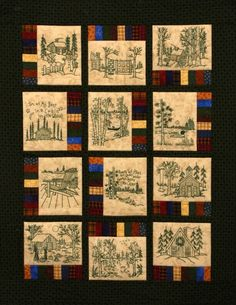 Memory Quilt Ideas | Northwoods Memories Quilt Pattern 12 by WellingtonHouseDesig: Redwork ...
