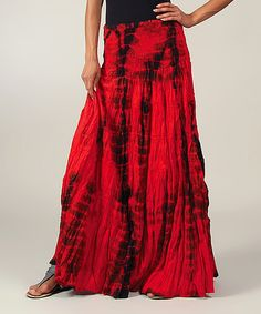 Take a look at the Red Tie-Dye Shirred Maxi Skirt on #zulily today!