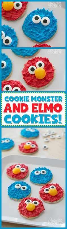 Cookie Monster and Elmo cookies are so adorable we can't contain ourselves! Perfect for a Sesame Street, Elmo or Cookie Monster birthday party too!