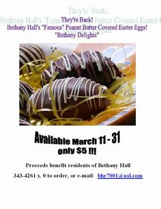 From Bethany Hall~~~Get your Easter Eggs here~~~Great stuff great cause