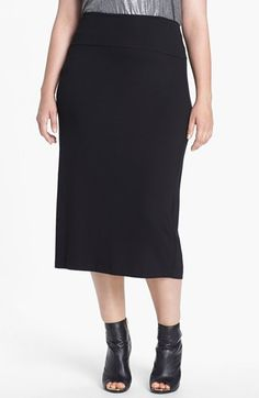 $128, Eileen Fisher Jersey Midi Skirt Black 1x. Sold by Nordstrom. Click for more info: https://lookastic.com/women/shop_items/47495/redirect
