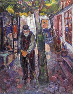 Edvard Munch ~ Old Man in Warnemunde, 1907