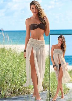 cb62b248e390e NATURAL Split front cover up from VENUS Beach Cover Up Skirt, Summer Cover  Up,