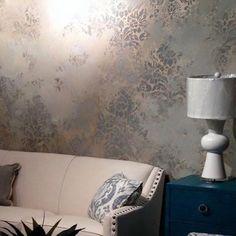 Stenciled Metallic Plaster Decorative Wall Finish and elegant damask fabric…