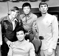 Gene Roddenberry and the Enterprise command crew on the set of Star Trek: The Motion Picture