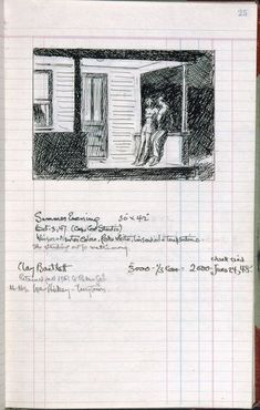 "Awesome! ""Edward Hopper--page 25 from Artist's ledger—Book III, 1924–67"". From the Whitney Museum of American Art, NYC."