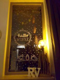 Hallo winter en wintervogeltjes #raamtekening door Vera S.
