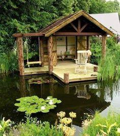 Ponds Backyard, Backyard Landscaping, Pond Design, Garden Design, Dream Garden, Home And Garden, Natural Swimming Ponds, Japanese Tea House, Garden Gazebo