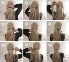 Una cola de caballo para las de pelo largo. | 16 Peinados que parecen profesionales pero te tomarán menos de diez minutos