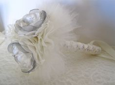 Three Flower Brides Small Ivory Satin with Grey by theraggedyrose