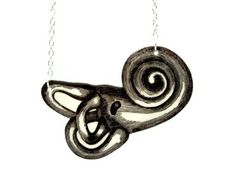 Ear Cochlea Necklace Anatomical Anatomy Black by TheSpangledMaker, $26.00