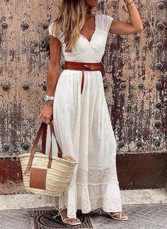 Lace Maxi, Lace Dress, Boho Dress, Elegant Maxi Dress, White Maxi Dress Casual, Sexy Maxi Dress, Robes Midi, Maxis, Short Sleeve Dresses