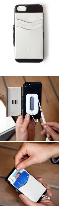 Iphone5 Case - wallet that snaps open to reveal a cable organizer for ear buds and place to store your cards.