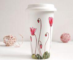 Ceramic Eco-Friendly Travel  Mug - Cyclamen, Botanical Collection - made to order