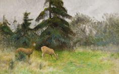 """""""Deer in the Summer Woods"""" c.1925 - Bruno Liljefors"""
