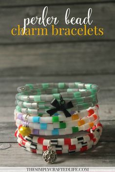 The best DIY projects & DIY ideas and tutorials: sewing, paper craft, DIY. Best Diy Crafts Ideas For Your Home perler bead charm bracelets Summer Crafts For Kids, Crafts For Teens, Kids Fun, Bead Crafts, Diy Crafts, Josi, Camping Crafts, Perler Beads, Making Ideas