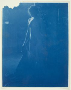 Haviland, Paul Burty; French; American; 1880-1950; Florence Peterson Nude, Turned to her Left; Recto; 1909-1910; photograph; cyanotype; sheet: 25.4 × 20.3 cm (10 × 8 in.); Worcester Art Museum; E.34.15.2; No known rights restrictions.