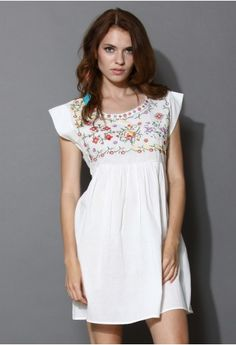 Peaceful Flower Cross-stitch Dolly Dress - New Arrivals - Retro, Indie and Unique Fashion