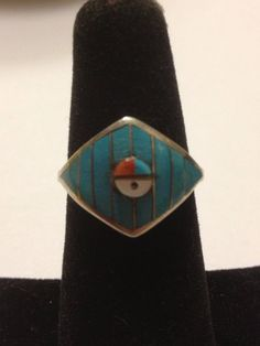Zuni Turquoise Red Coral Ring Sun Face Sterling Silver Size 7 Jet MOP Vintage Southwestern Tribal Jewelry Christmas Birthday Gift on Etsy, $55.00